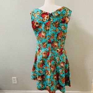 Lindy Bop Dresses - LINDY BOP Ophelia retro teal floral picnic-dress